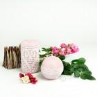 Stumpen- und Kugelkerze rosa Strickwarenoptik - 100% Stearin