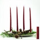 4 Tafelkerzen Spitzkerzen Leuchterkerzen gekratzt - rot 38cm