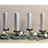 Adventskerzen Weihnachtskerzen 4er Set  Silber - 15cm