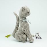 Die graue Katze 19cm Strickware Handmade