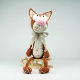 Die braun Katze 40cm Strickware Handmade