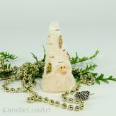 Birkenzwerg lange Mütze 10,8cm Weihnachtskerze creme