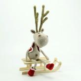 Weichnachts Elch 38cm beige - Strickware Amigurumi Handmade