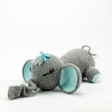 Elefant grau hellblau 38cm  Strickware Handmade Amigurumi