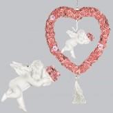 Engel im Rosenkranz mit Blumenstrauß hängend L-20cm