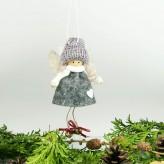 Filz Engel mit Glocken in grau H7cm