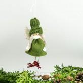 Filz Engel mit Glocken in grün H7cm