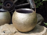 Gartenkerze Outdoorkerze Kugel Romantik 15cm gold / schwarz