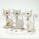Holz Katzen mit Metallschwanz und Herzanhänger 18cm