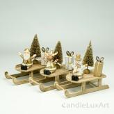Holz Schlitten Weihnachtsfiguren 3 Varianten