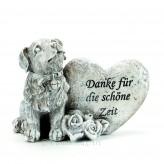 Trauerfigur Hund mit Aufschrift 10x13cm