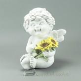 Engel Igor Sommer Sonnenblume sitzend 2 Blumen 18cm