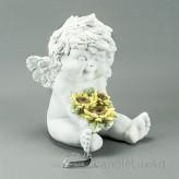 Engel Igor Sommer Sonnenblume sitzend 3 Blumen 18cm