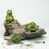 Set Keramik Schnecke Frosch Schildkröte glasiert