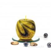 Kerze Apfel handgeknetet gelb 7,5cm