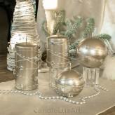 Stumpen Kugel Kerzen Sternenkette Silber Champagner
