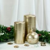 Stumpen Kugel Kerzen Hochglanz Metallic Glitzer Strass Champagner
