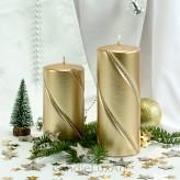 Stumpen Kerzen gedrehte Kristalle 7x14 und 7x17,5cm Metallic Gold