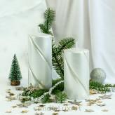 Stumpen Kerzen gedrehte Kristalle 7x14 und 7x17,5cm Metallic Silber
