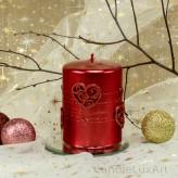 Stumpen Kerzen Perlmutt mit Herzen 7x10cm Rot