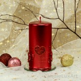 Stumpen Kerzen Perlmutt mit Herzen 7x14cm Rot