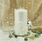Stumpen Kerzen Perlmutt mit Herzen 7x14cm Weiß