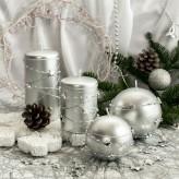 Stumpen Kugel Kerzen Sternenkette Silber Silber