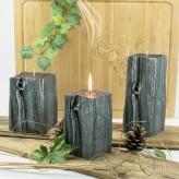Kerzen Sandelholz Baumstumpf Grau 3 Varianten 14-20cm