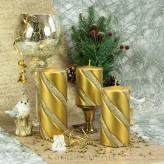 Stumpen Kerzen Metallic Glitzer Spirale Gold