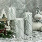 Stumpen Kerzen Metallic Glitzer Spirale Silber