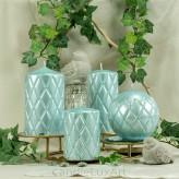 Stumpen Kerzen Versaille Perlmutt blau 4 Größen