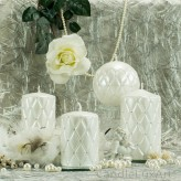 Stumpen Kerzen Versaille Perlmutt weiß 4 Größen