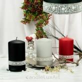 Stumpen Kerzen matt mit Perlring Strass 3 Farben