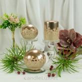 Stumpen Kugel Kerzen Hochglanz Metallic Sternenmuster Rosegold