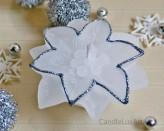 Weihnachtsstern Weiß mit Silberrand - 8cm