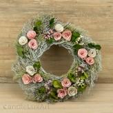 Kranz Äste Holzblüten rosa 30cm