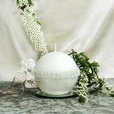 Kugel Kerzen Rosenkranz Perlmutt weiß 10cm