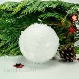 Kugelkerze Schneeoptik mit Glitzer 10cm - 100% Stearin