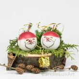 Kugelkerzen 2er Set 6cm zweifarbig Weihnachtsmann Gesicht
