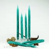 4  Leuchterkerzen Luftblasendesign 25 und 35cm Türkis