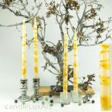 4  Leuchterkerzen creme Dekor gelb 35cm