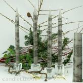 4  Leuchterkerzen grau Dekor grau 35cm