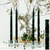 4  Leuchterkerzen tiefes dunkelgrün Dekor grün 35cm