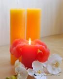 Lotuskerze Duftkerze 18cm Zitrone Vanille gelb