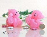 Kerze Bärchen mit Herz - rosa - 8cm
