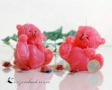 Kerze Bärchen mit Herz - rot - 8cm