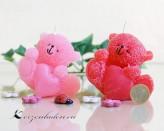Kerze Bärchen mit Herz - rosa / rot - 8cm