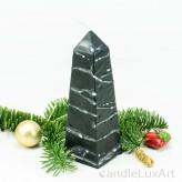 Obelisklkerze Tropfendesign - 15cm - schwarz weis