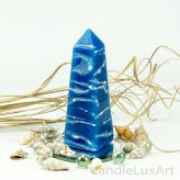 ObelisklkerzeTropfendesign - 15cm - blau weis
