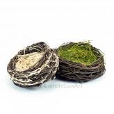 Natur Osternest - 16-19cm grün - Äste-Gras-Blüten